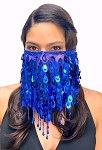 Paillette Face Veil with Beaded Fringe - BLUE