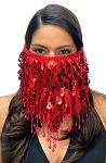 Paillette Face Veil with Beaded Fringe - RED