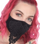 Dark & Elegant Beaded Face Mask in Black