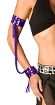 Sequin Beaded Double Cuff Slave Bracelet & Armbands (PAIR) - PURPLE