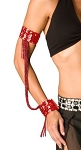 Sequin Beaded Double Cuff Slave Bracelet & Armbands (PAIR) - RED