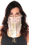 Ornate Harem Belly Dancer Costume Face Veil Accessory - WHITE