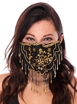 2-Layer Ornate Beaded Face Mask - BLACK