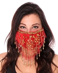2-Layer Ornate Beaded Face Mask - RED