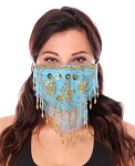 2-Layer Ornate Beaded Face Mask - TURQUOISE