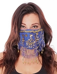 2-Layer Ornate Beaded Face Mask - BLUE