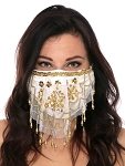 2-Layer Ornate Beaded Face Mask - WHITE