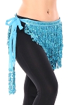 Sequin Fringe Hip Scarf - TURQUOISE