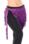 Sequin Fringe Hip Scarf - PURPLE