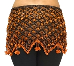 Beaded Crochet Hip Scarf - BLACK / ORANGE