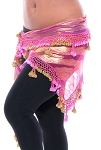 Egyptian Beaded Hip Scarf / Shawl - ROSE PINK