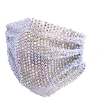 Rhinestone Bling Mesh Face Mask Cover - WHITE AB