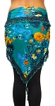 Egyptian Beaded Hip Scarf / Shawl - TEAL GARDEN