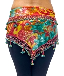 Egyptian Beaded Hip Scarf / Shawl - TROPICAL