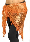 Egyptian Lace Hip Scarf / Shawl - AUTUMN ORANGE