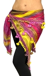Egyptian Beaded Hip Scarf / Shawl - PINK LEMONADE