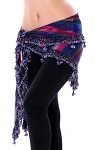 Egyptian Beaded Hip Scarf / Shawl - EVENING RAINBOW