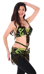 2-Piece Classic Egyptian Bedlah Bra and Belt Set - BLACK/GREEN
