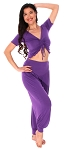 Comfy Half Top and Harem Pants Set - PURPLE