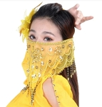 Ornate Harem Belly Dancer Costume Face Veil Accessory - YELLOW/GOLD