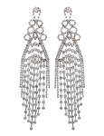 Large Rhinestone Waterfall Fringe Earrings - CLEAR CRYSTAL / SILVER