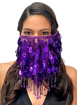 Paillette Face Veil with Beaded Fringe - PURPLE