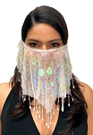 Paillette Face Veil with Beaded Fringe - WHITE