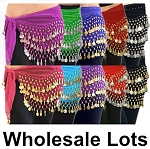 10 Lot Wholesale Belly Dance Chiffon & Coin Hip Scarves - ASSORTED