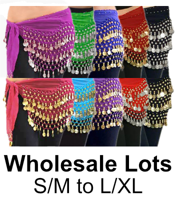 50 Lot Wholesale Belly Dance Chiffon & Coin Hip Scarves - ASSORTED