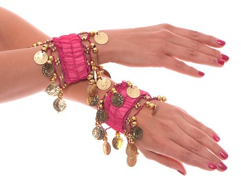 Chiffon Stretch Bracelets with Beads & Coins (PAIR): ROSE PINK / GOLD