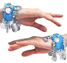 Chiffon Stretch Bracelets with Beads & Coins (PAIR): BLUE TURQUOISE / SILVER