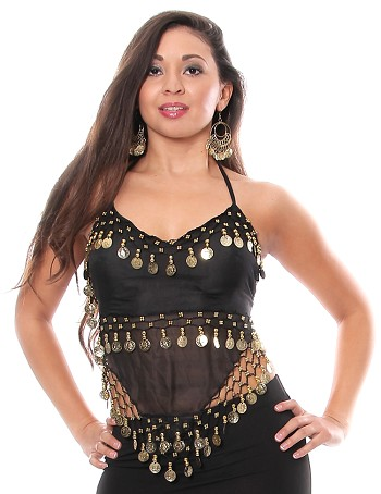 Sheer Chiffon Belly Dance Halter Top with Coins - BLACK / GOLD