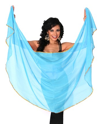 Petite Semi-Circle Chiffon Belly Dance Veil with Sequin Trim - LIGHT BLUE TURQUOISE / GOLD