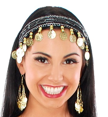 Sequin Belly Dance Costume Headband with Coins - BLACK / GOLD