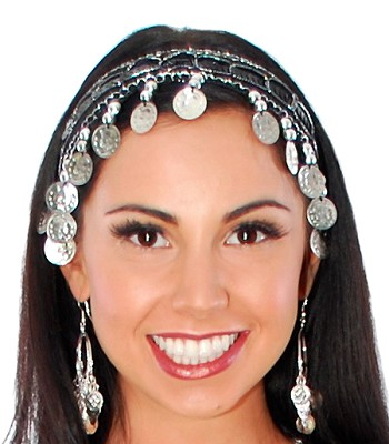 Sequin Belly Dance Costume Headband with Coins - BLACK / SILVER