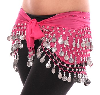 Chiffon Belly Dance Hip Scarf with Beads & Coins - ROSE PINK / SILVER