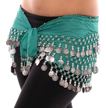 Chiffon Belly Dance Hip Scarf with Beads & Coins - TEAL GREEN / SILVER