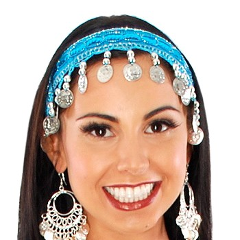 Sequin Belly Dance Costume Headband with Coins - TURQUOISE / SILVER