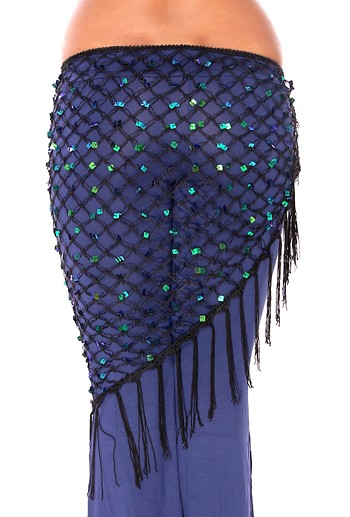 Crochet Net Shawl Scarf with Square Sequins & Fringe - BLACK OPAL
