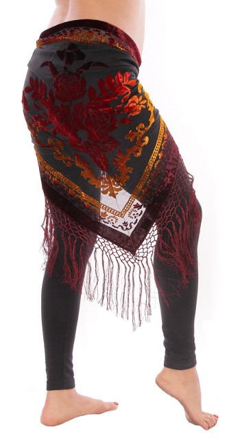 Burnout Velvet Rose Pattern Shawl Hip Scarf with Fringe - BURGUNDY MULTI