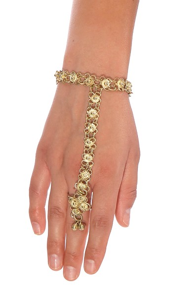 Metal Belly Dance Jewelry Tribal Slave Bracelet with Ghungroo Bells - GOLD