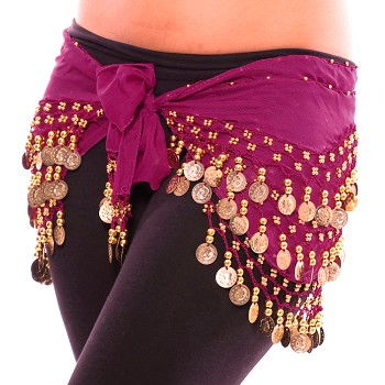Chiffon Belly Dance Hip Scarf with Beads & Coins - PURPLE PLUM / GOLD