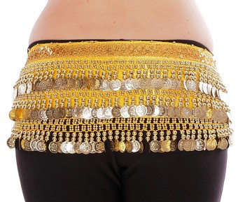 Velvet Deluxe Coin Hip Scarf - YELLOW / GOLD