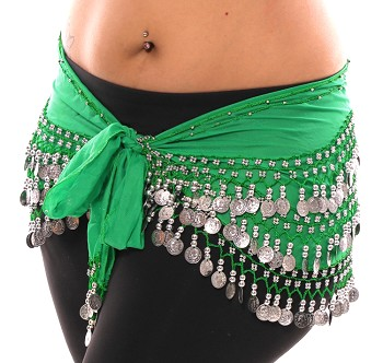 Plus Size 1X - 4X Chiffon Belly Dance Hip Scarf with Coins - GREEN / SILVER