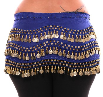 Plus Size 1X - 4X Chiffon Belly Dance Hip Scarf with Coins - ROYAL BLUE / GOLD