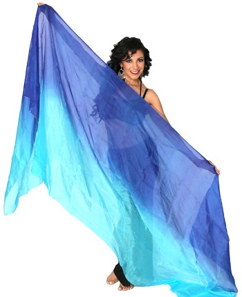 Ombre Silk Belly Dance Veil - BLUE / TURQUOISE