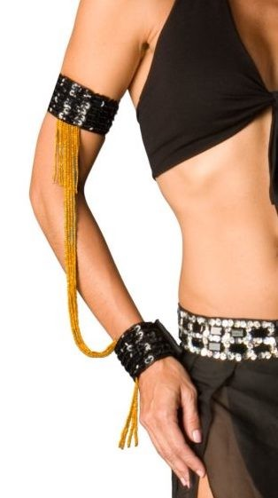 Sequin Beaded Double Cuff Slave Bracelet & Armbands (PAIR) - BLACK / GOLD