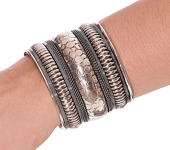 Embossed Tribal Cuff Bracelet from India - SILVER