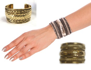 Embossed Tribal Cuff Bracelet from India
