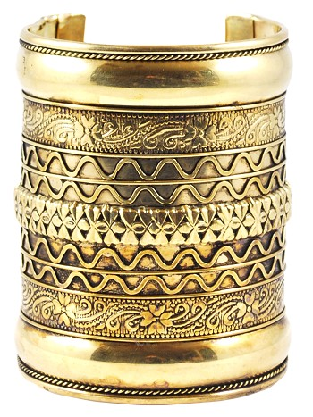 Large Embossed Tribal Cuff Costume Bracelet - GOLD
